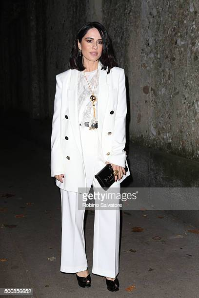 Paola Iezzi arrives at Vogue Christmas dinner on December 10 2015 in Milan Italy