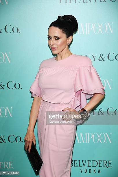 Paola Iezzi attends The Fashionable Lampoon cocktail and dinner for The DOT Circle in via Bagutta on April 16 2016 in Milan Italy