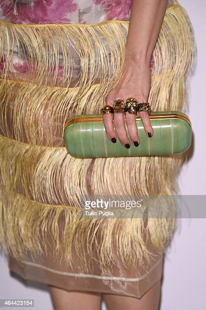 Paola Iezzi fashion detail attends the Vogue Talent's Cornercom on February 25 2015 in Milan Italy