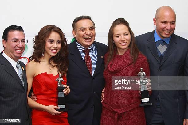 Paola Longoria Alonso Perez Samantha Salas and Alejandro Cardenas during the Luchador Olmeca Awards at CODEME on December 16 2010 in Mexico City...