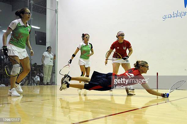 Paola Longoria and Samantha Salas of Mexico compete against Aimee Ruiz and Rhonda Rajsich of USA during the women's doubles final match of the...