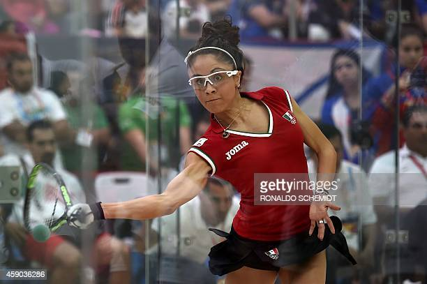 Paola Longoria of Mexico competes against Maria Rene Rodriguez of Guatemala during the Racquetball qualifying round in Veracruz Mexico on November 15...
