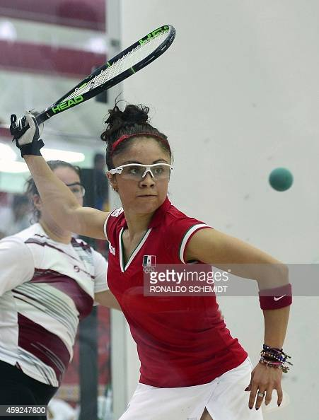 Paola Longoria of Mexico competes against Mariana Paredes from Venezuela during the Racquetball quarter final match in Veracruz Mexico on November 19...