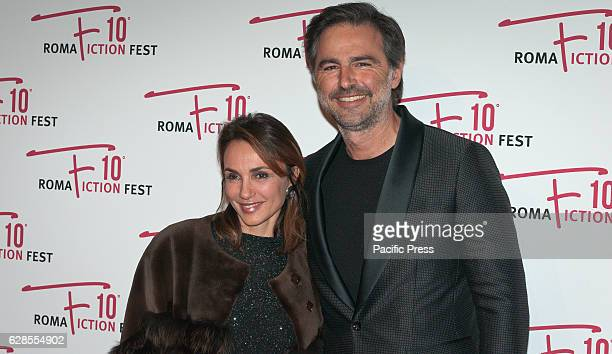 Paola Lucisano and Beppe Convertini attend at the Red Carpet of 'In art Nino' presented at the Roma Fiction Fest 2016