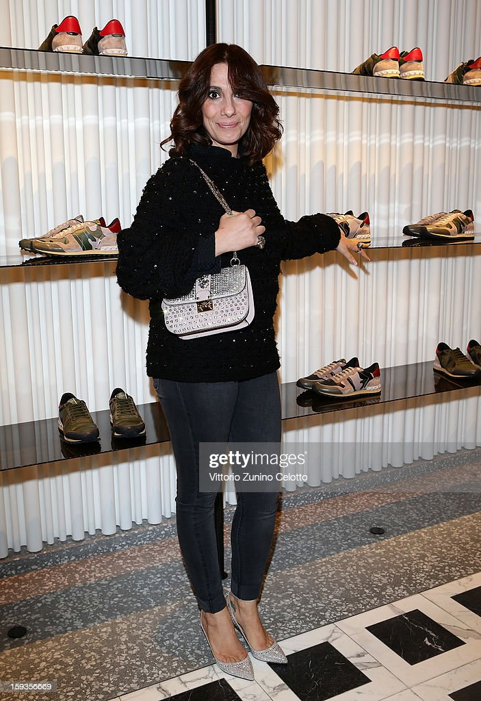 Paola Maugeri attends Valentino Cocktail Party as part of Milan Fashion Week Menswear Autumn/Winter 2013 on January 12, 2013 in Milan, Italy.