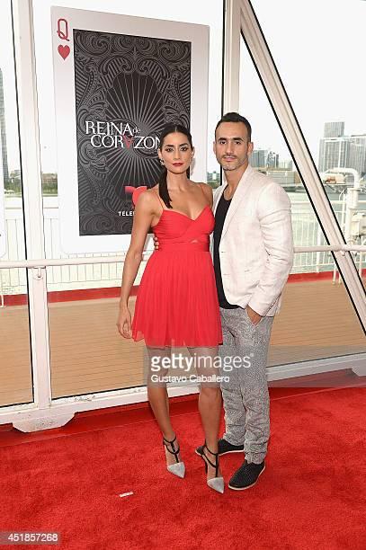 Paola Nunez and Rodolfo Valdez attends Premiere of Telemundos 'Reina De Corazones' at Port of Miami on July 7 2014 in Miami Florida