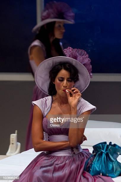 Paola Nunez in action during the Cinco Mujeres Usando el Mismo Vestido presentation at Telon de Asfalto Theater on July 13 2010 in Mexico City Mexico