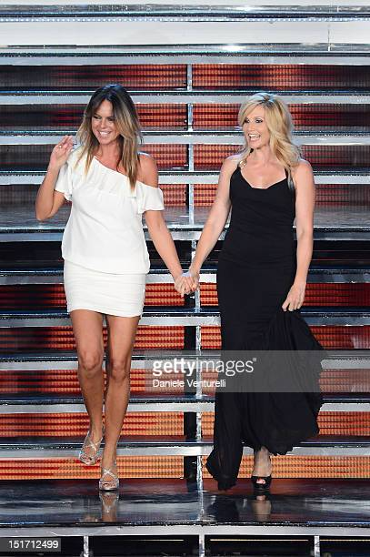 Paola Perego and Lorella Cuccarini attends the 2012 Miss Italia beauty pageant at the Palazzetto of Montecatini on September 10 2012 in Montecatini...