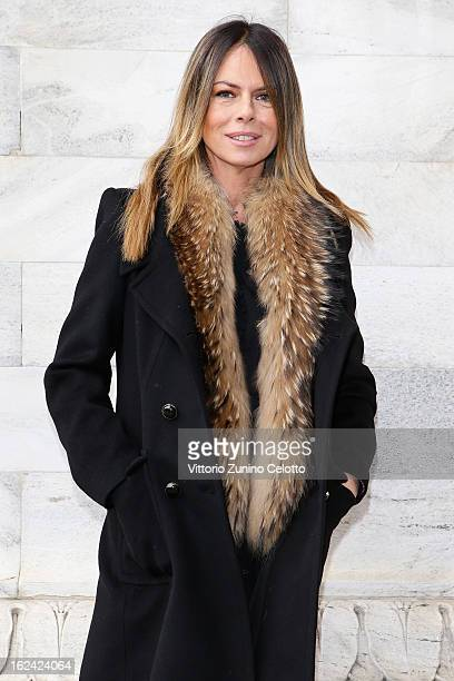 Paola Perego attends the Roberto Cavalli fashion show as part of Milan Fashion Week Womenswear Fall/Winter 2013/14 on February 23 2013 in Milan Italy