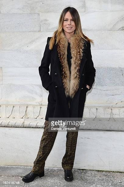 Paola Perego attends the Roberto Cavalli fashion show during Milan Fashion Week Womenswear Fall/Winter 2013/14 on February 22 2013 in Milan Italy