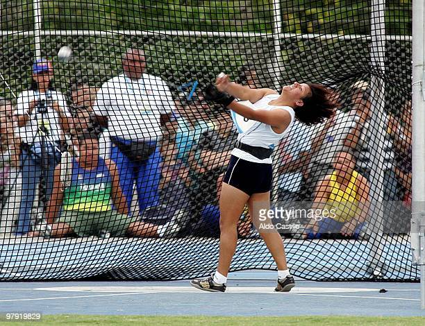 Paola Perez of Ecuador during the hammer throw competition at Alfonso Galvisa Stadium as part of the Odesur South American Games on March 20 2010 in...