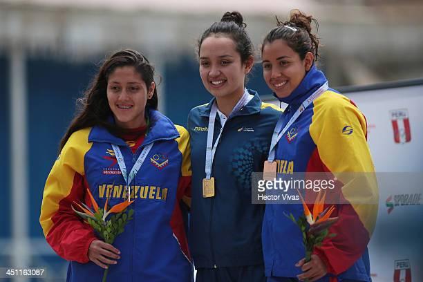 Paola Perez of Venezuela silver medal Samantha Arevalo of Ecuador gold medal and Florencia Melo of Venezuela bronze medal in Open Water Swimming...