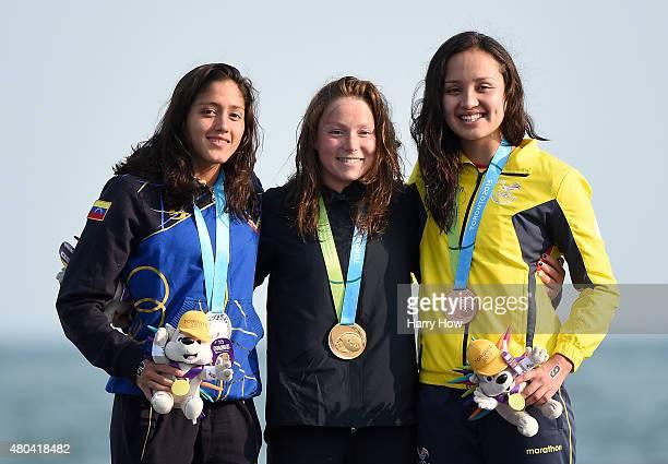 Paola Perez Sierra of Venezuela Eva Fabian of the United States of America and Samantha Arevalo Salinas of Ecuador pose with silver gold and bronze...
