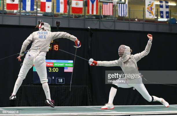 Paola Pliego of Mexico fences Monica Aksamit of the USA during the gold medal match of the Team Women's Sabre event on June 17 2017 at the...