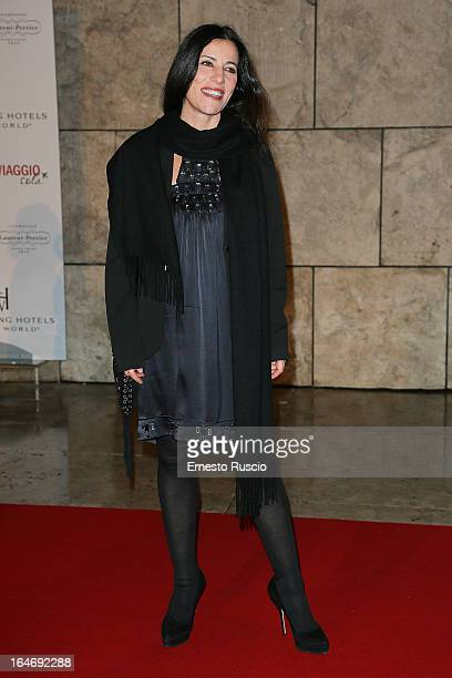 Paola Turci attends the 'Viaggio Sola' premiere at Ara Pacis on March 26 2013 in Rome Italy