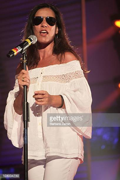Paola Turci performs on stage during the soundcheck during Venice Music Award on July 20 2010 in Venice Italy