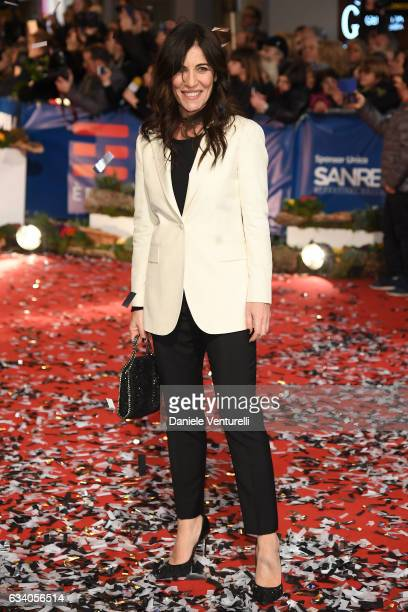 Paola Turci walks a red carpet for the 67 Sanremo Festival at Teatro Ariston on February 6 2017 in Sanremo Italy