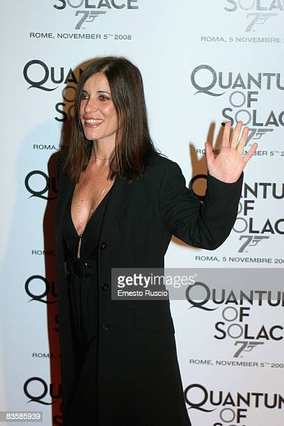 Paola Turci wearing Gucci attends the 'Quantum Of Solace' premiere at the Warner Village Moderno cinema on November 5 2008 in Rome Italy