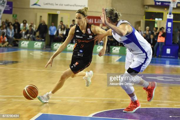 Paoline Salagnac of Bourges and Elodie Godin of Montpellier during the Women's basketball match between Lattes Montpellier and Bourges Basket on...
