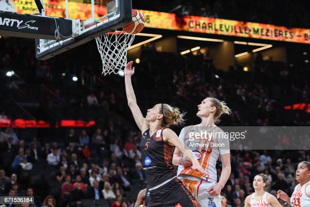 Paoline Salagnac of Bourges during the women's Final of the French Cup between Charleville Mezieres and Bourges Basket at AccorHotels Arena on April...