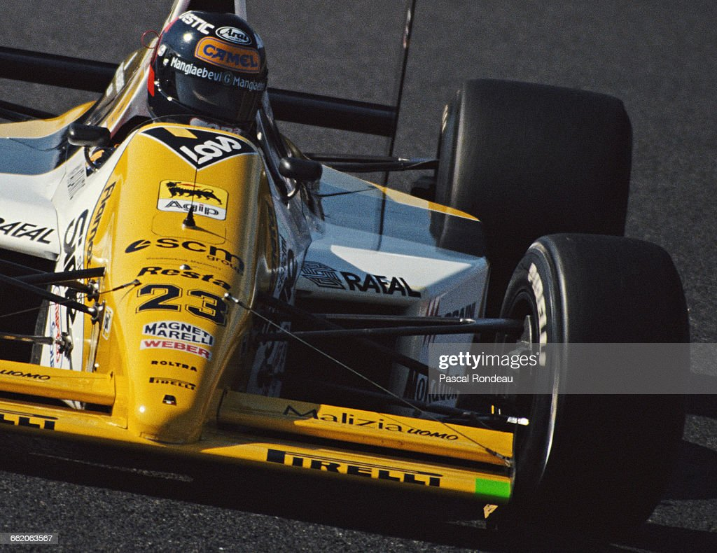 Paolo Barilla of Italy drives the Minardi SpA Team Minardi M189 Cosworth V8 during the Fuji Television Japanese Grand Prix on 22 October 1989 at the...