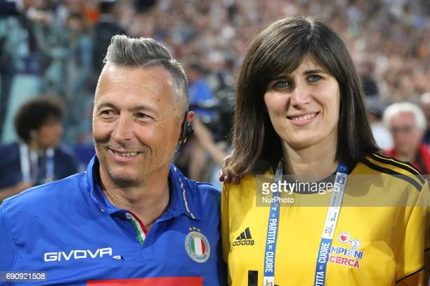Paolo Belli and Chiara Appendino attend the twentysixth Partita del Cuore charity football game at Juventus Stadium on may 30 2017 in Turin Italy