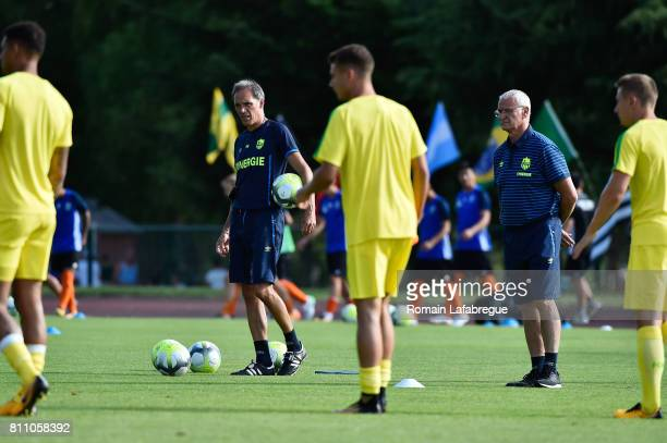 Paolo Bennetti and Claudio Ranieri head coach of Nantes during the friendly match between Fc Nantes and Lausanne Sport on July 8 2017 in Annecy France
