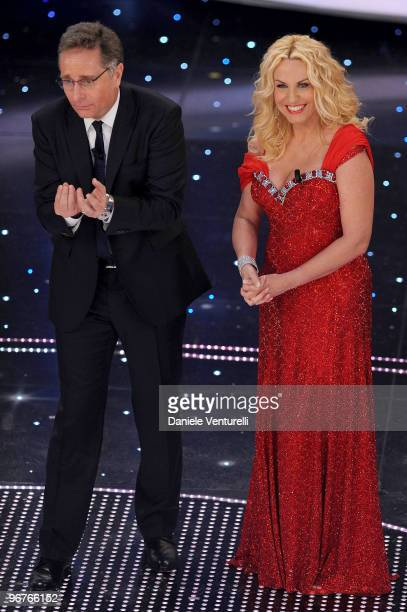 Paolo Bonolis and Antonella Clerici attend the 60th Sanremo Song Festival at the Ariston Theatre On February 16 2010 in San Remo Italy