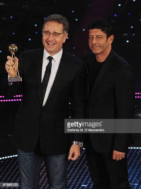 Paolo Bonolis and Luca Laurenti attend 'Premio TV 2010' Ceremony Award held at Teatro Ariston on March 18 2010 in San Remo Italy