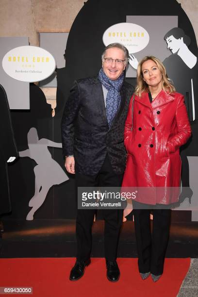 Paolo Bonolis and Sonia Bruganelli attend Grand Opening Party Hotel Eden of Hotel Eden on March 28 2017 in Rome Italy