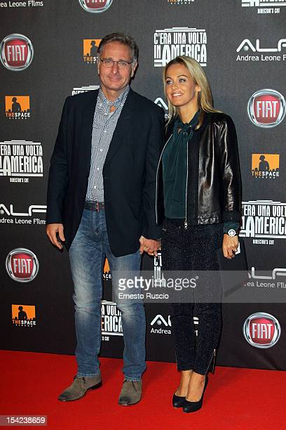 Paolo Bonolis and Sonia Bruganelli attend the 'C'era Una Volta In America Director's Cut' premiere at Space Moderno on October 16 2012 in Rome Italy