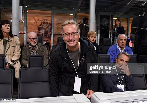 Paolo Bonolis attends the Serie A match between FC Internazionale Milano and AC Milan at Stadio Giuseppe Meazza on September 13 2015 in Milan Italy