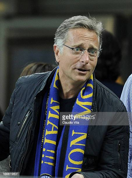 Paolo Bonolis attends the TIM Cup semifinal match between FC Internazionale Milano and AS Roma at Giuseppe Meazza Stadium on April 17 2013 in Milan...