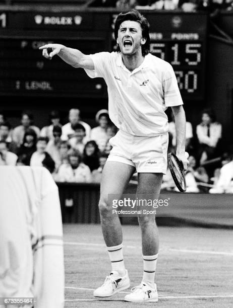 Paolo Cane of Italy in dispute during his Men's Singles Wimbledon Championship match against Ivan Lendl held at the All England Lawn Tennis and...