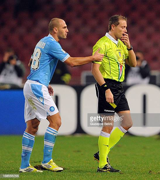Paolo Cannavaro of Napoli and referee Paolo Valeri during the Serie A match between SSC Napoli and Bologna FC at Stadio San Paolo on December 16 2012...