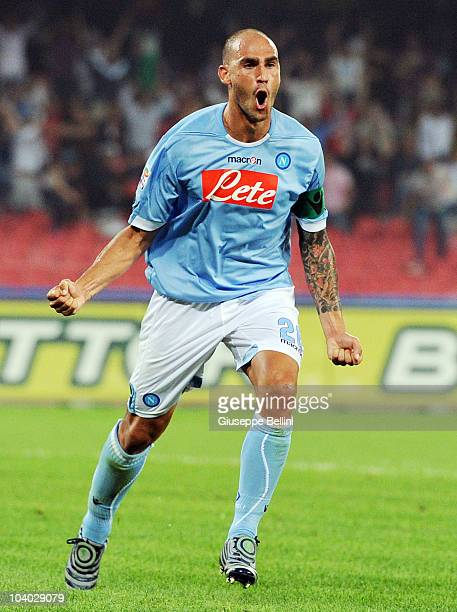 Paolo Cannavaro of Napoli celebrates after scoring Napoli's second goal during the Serie A match between Napoli and Bari at Stadio San Paolo on...