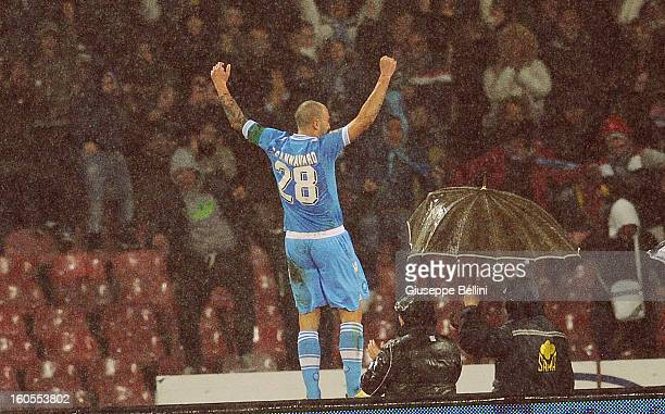 Paolo Cannavaro of Napoli celebrates after scoring the goal 20 during the Serie A match between SSC Napoli and Catania Calcio at Stadio San Paolo on...