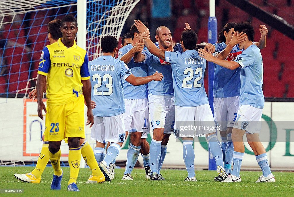 Paolo Cannavaro of Napoli celebrates after scoring the opening goal during the Serie A match between Napoli and Chievo Verona at Stadio San Paolo on September 22, 2010 in Naples, Italy.