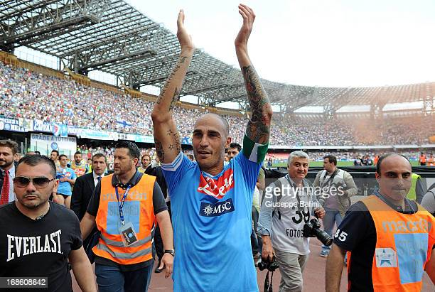 Paolo Cannavaro of Napoli celebrates the victory after the Serie A match between SSC Napoli and AC Siena at Stadio San Paolo on May 12 2013 in Naples...