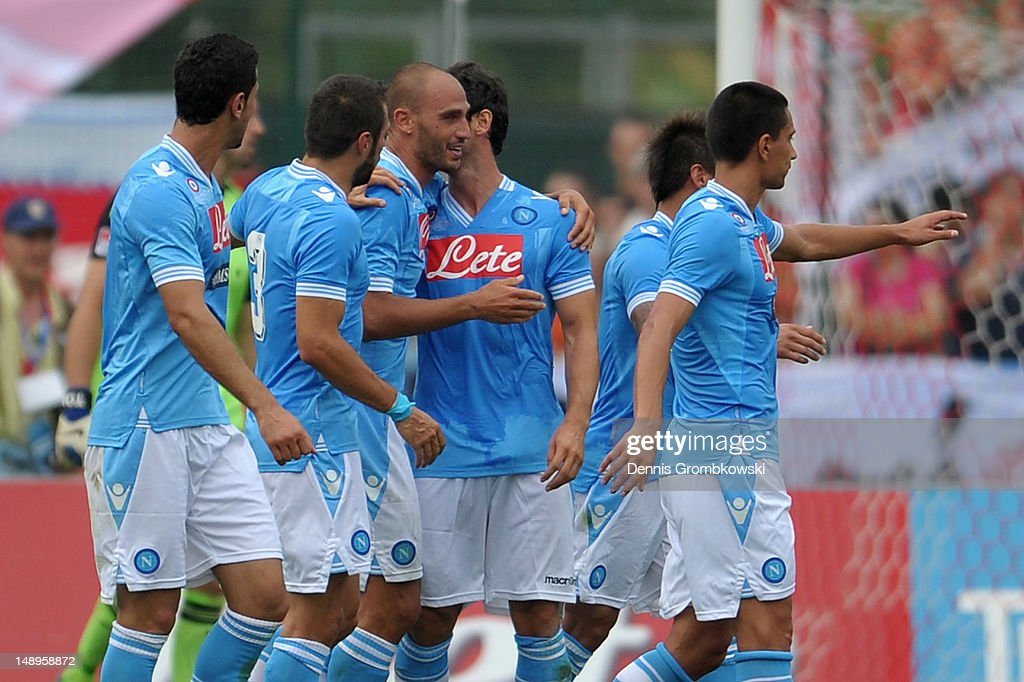 <a gi-track='captionPersonalityLinkClicked' href=/galleries/search?phrase=Paolo+Cannavaro&family=editorial&specificpeople=728856 ng-click='$event.stopPropagation()'>Paolo Cannavaro</a> of Napoli celebrates with teammate after scoring his team's first goal during the friendly match between SSC Napoli and Bayern Muenchen at Arco Stadium on July 20, 2012 in Arco, Italy.