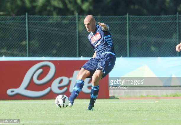 Paolo Cannavaro of Napoli in action during the preseason friendly match between SSC Napoli and US Grosseto on July 23 2012 in Dimaro near Trento Italy