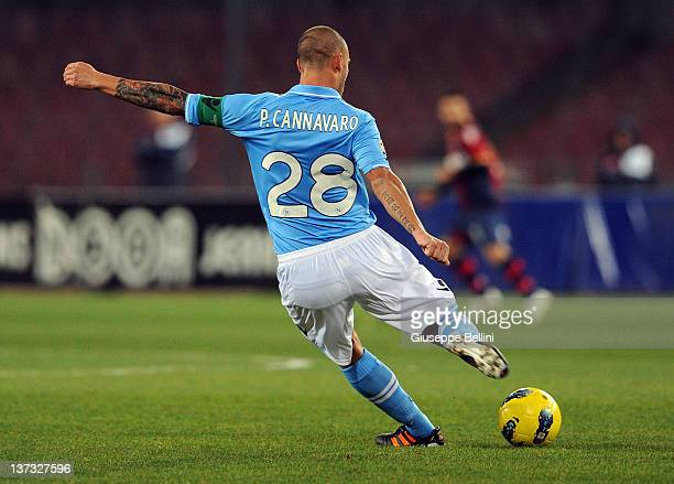 Paolo Cannavaro of Napoli in action during the Serie A match between SSC Napoli and Bologna FC at Stadio San Paolo on January 16 2012 in Naples Italy