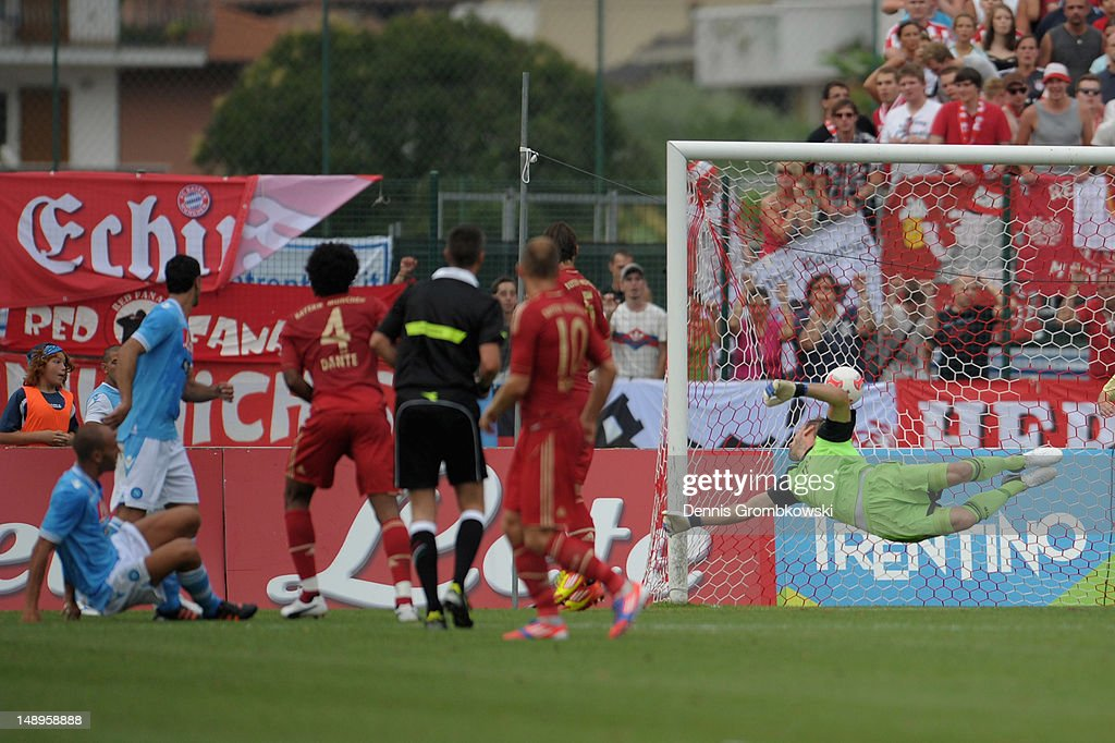 Paolo Cannavaro of Napoli scores his team's first goal during the friendly match between SSC Napoli and Bayern Muenchen at Arco Stadium on July 20, 2012 in Arco, Italy.