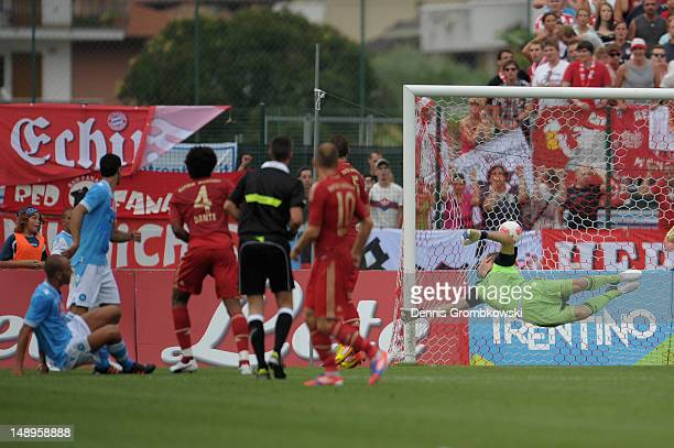 Paolo Cannavaro of Napoli scores his team's first goal during the friendly match between SSC Napoli and Bayern Muenchen at Arco Stadium on July 20...