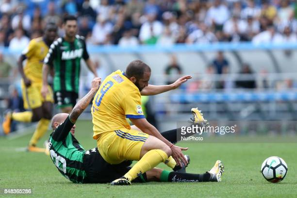 Paolo Cannavaro of Sassuolo tackling on Gonzalo Higuain of Juventus during the Serie A match between US Sassuolo and Juventus at Mapei Stadium Citta'...