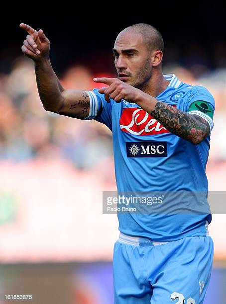 Paolo Cannavaro of SSC Napoli gestures during the Serie A match between SSC Napoli and UC Sampdoria at Stadio San Paolo on February 17 2013 in Naples...