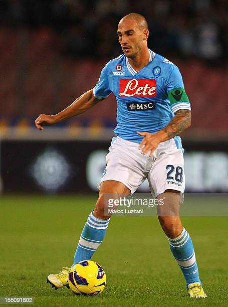 Paolo Cannavaro of SSC Napoli in action during the Serie A match between SSC Napoli and AC Chievo Verona at Stadio San Paolo on October 28 2012 in...