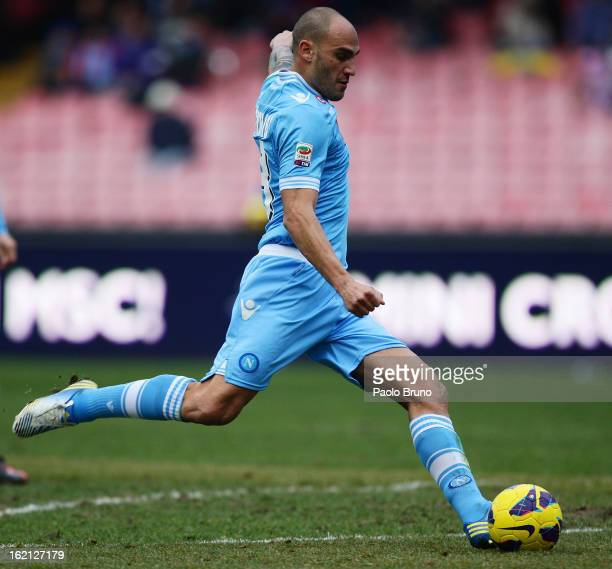 Paolo Cannavaro of SSC Napoli kicks the ball during the Serie A match between SSC Napoli and UC Sampdoria at Stadio San Paolo on February 17 2013 in...