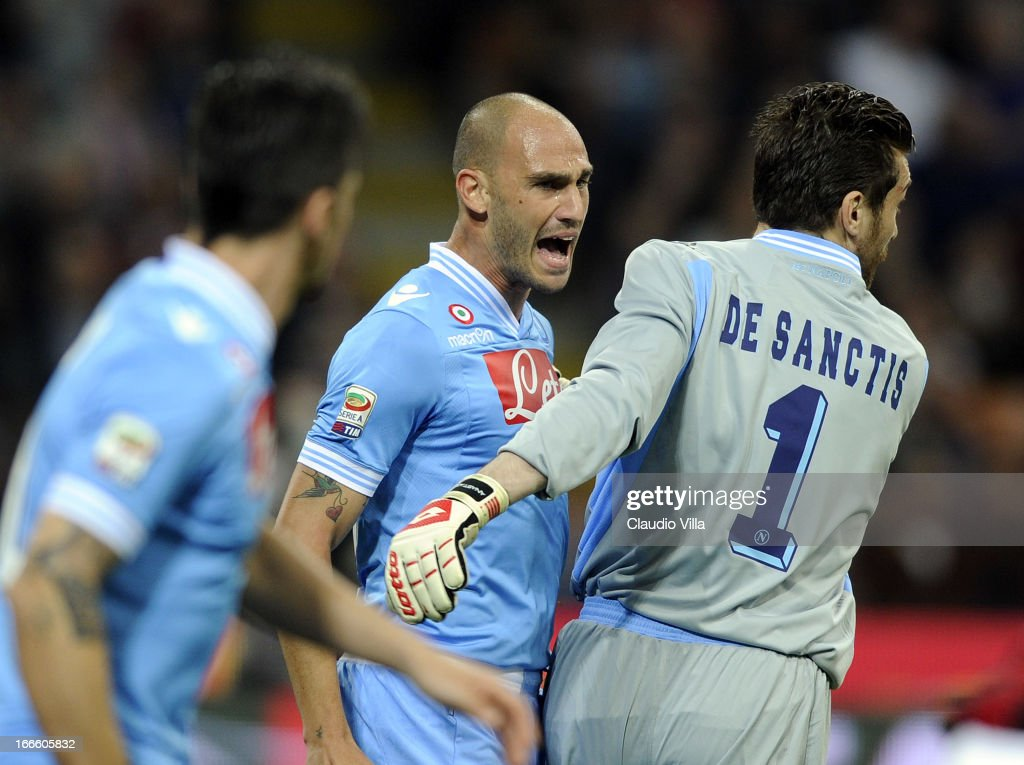Paolo Cannavaro of SSC Napoli (C) reacts during the Serie A match between AC Milan and SSC Napoli at San Siro Stadium on April 14, 2013 in Milan, Italy.
