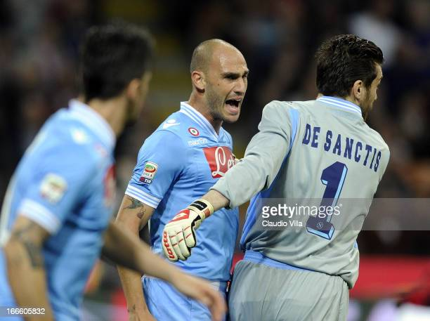 Paolo Cannavaro of SSC Napoli reacts during the Serie A match between AC Milan and SSC Napoli at San Siro Stadium on April 14 2013 in Milan Italy